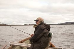 92 year old Sean McCaul fishing on 18th March 2011