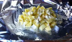 Aardappel in folieschuitje