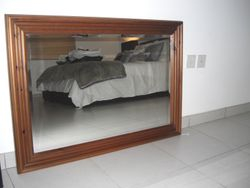 antique pine framed mirror - AED180