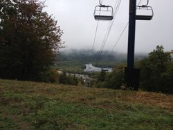 drive up Mt. Wachusett in the rain