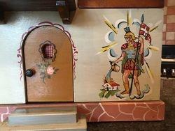 Front door and wall mural.