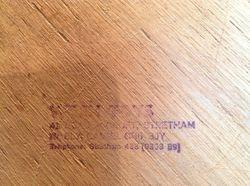 Stamp on underside of base.