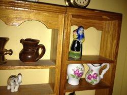 Old Lady Ornament & Brown Jug