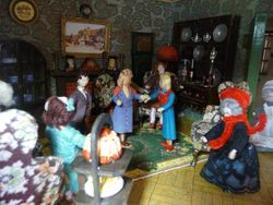 Meanwhile, downstairs in the living room, Cedric's sister-in-law, Ophelia has arrived and is being introduced to Isla and Rita.