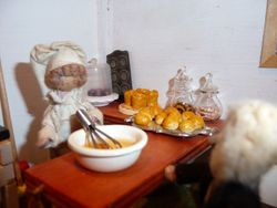 On his way home from the tearoom, Cedric decided to call in at Jenny Wren's bakery.