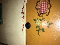 Close-up of unusual door handle.