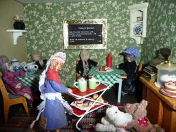 Meanwhile, Cedric was in the Wool 'n' Wire Tearoom chatting happily to Ophelia, and their friends, Dorcas and Kitty.