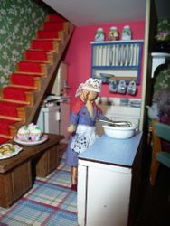 In the tearoom kitchen, Doris whisked up some extra cream.