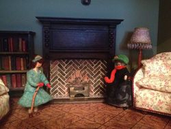 The ladies are quite taken with the new fireplace in drawing room.