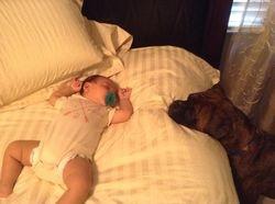 Protecting the sleeping angel.