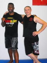"Andre ""The Panther"" Tete and Shodai Sensei Peter A. Robertson WZKKA Founder"
