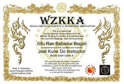 Sifu Bogati WZKKA Rep nepal Jeet Kune Do Instructor Certificate