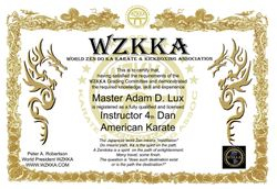 WZKKA Black Belt Certificate