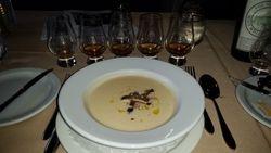 Parsnip & Vanilla Soup, Smokey Oyster Mushrooms, Hazelnuts, Truffle Oil