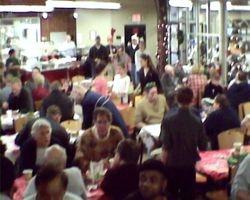 Many enjoy their breakfast, gloves and sweatshirt