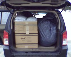 Truck filled of sweats to go to the VA