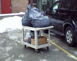 One of four cart loads to distribute to VA