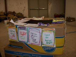 Donation boxes from Nolanville Elementary