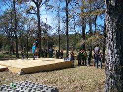 Tent platform at the camp ground