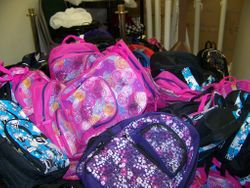 Mounds of backpacks