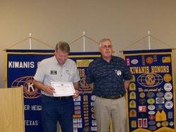 Gary Honaker Certificate of Appreciation