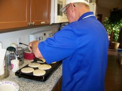 Norm cooking pancakes