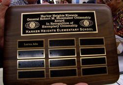 Plaque for HHES Gen Robert M Shoemaker Citizenship Award
