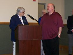 Installing Club Treasurer Randy Stone