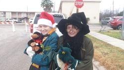 Sheridan & Lisa freezing at the parade