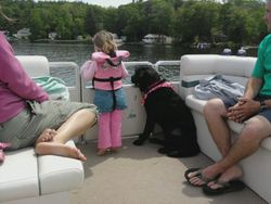 rosie and lizzy keepin watch on grampie's boat