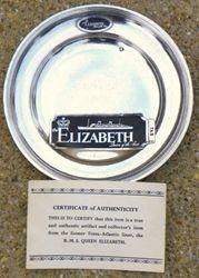 Queen Elizabeth Ship Cunnard White Star Plate Dish COA