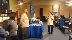 Pastor Dagohoy giving thanks and prayer for the supplies and dresses!