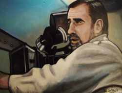 """Martin Scorsese"", ""Director"", ""Actor"", ""Producer"", ""Screenwriter"", acrylic on canvas, by Fin Collins, part of The Film Icons Collection www.filmiconsgallery.com"