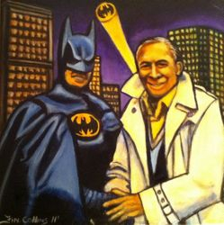 """Batman"", ""I am Batman"", ""Michael Keaton and Bob Kane"",""Michael Keaton"", and ""Bob Kane"",""Actor"",""Producer"",""Artist"", Acrylic on canvas by Fin Collins, part of The Film Icons Collection www.filmiconsgallery.com"