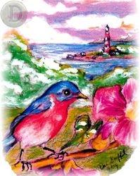 Blue Bird with Lighthouse