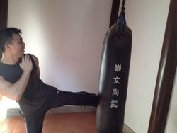 Training with the Fangzhang's heavy bag at the shaolin temple