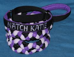 Katie's New Collar and Leash from Mountain Dog Fleece