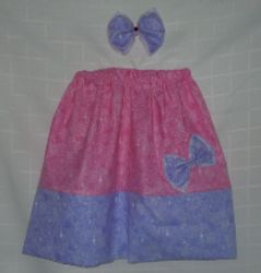 Pink and Purple Skirt and Hair Bow