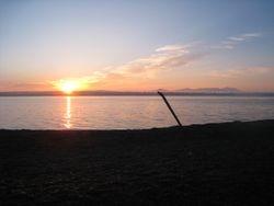 Sunrise on Sandy Beach - Mt. Katahdin in the Distance