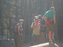 Scouts planning for Hike at Taft Point - Yosemite National Park