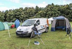 TKO van set up for camping