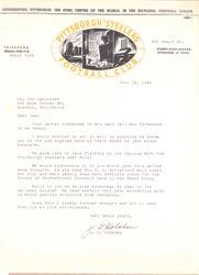 1945 The Steelers invite letter