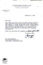 Geo S. Halas letter to Ben