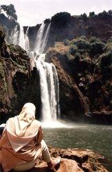 Woman Sitting at Cascades D'Oouzoud waterfalls
