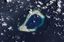 A satellite image of Subi Reef