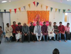 Gents at the puja
