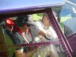 Jim Davis and Logan Welch before take-off