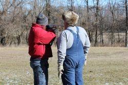 Media cameraman shooting a shotgun for the first time