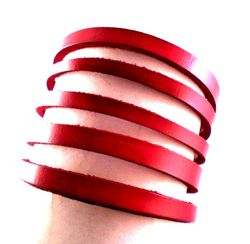 Victorian Style Slashed Cuff In Red