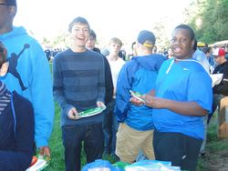 Drum majors Nathan & Grantenjoy the tailgate party